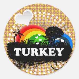 Die niedliche fruchtige Türkei Runder Aufkleber