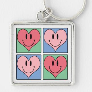 Die niedlichen Herzen des lächelnden Valentines, Silberfarbener Quadratischer Schlüsselanhänger