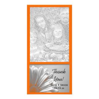 Die orange Wedding Blumenhöhepunkte danken Ihnen Bildkarte