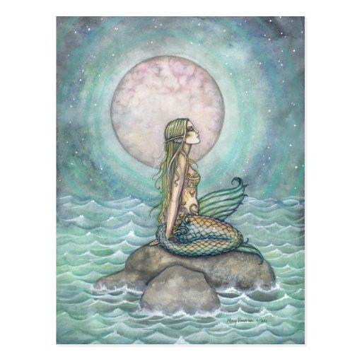Die Pastellseemeerjungfrau-Fantasie-Kunst-Postkart Postkarte