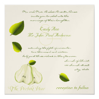 Die perfekte Birnen-Hochzeits-Einladung Quadratische 13,3 Cm Einladungskarte