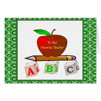 Die personalisierten ABC des Lehrers Karte
