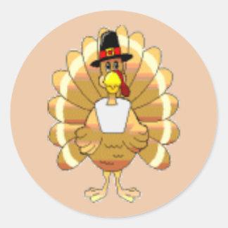 Die Pilger-Türkei-Aufkleber Runder Aufkleber