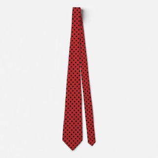 Die Polka-Punkt-schwarze und rote Krawatte der