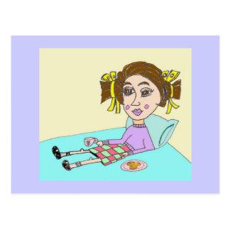 Die Porzellan-Puppe trinkt ihren Kaffee Postkarte