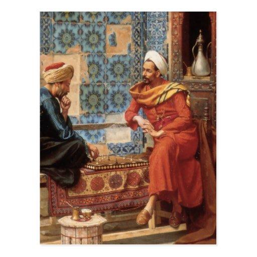 Die Postkarte des Schach-Spiels im Detail