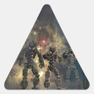die prachtvollen sieben Roboter b Dreieckiger Aufkleber
