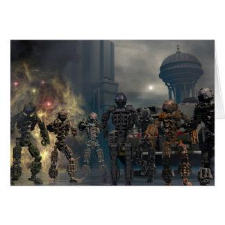 die prachtvollen sieben Roboter b Grußkarte