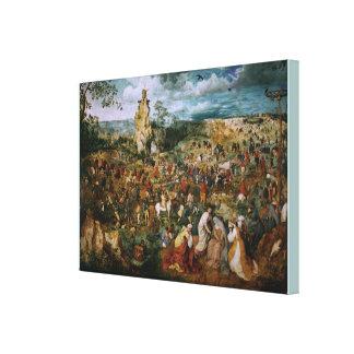 Die Prozession zum Kalvarienberg durch Pieter Leinwanddruck