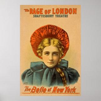 Die Raserei des Vintagen darstellenden Poster