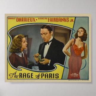 Die Raserei des Vintagen Film-Plakats Paris