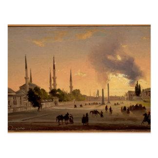 Die Rennstrecke in Konstantinopele (Öl auf Postkarte