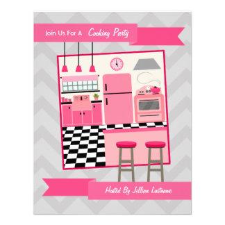 Die Retro rosa Küche, die Party kocht, laden ein Personalisierte Einladung