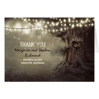 die romantischen wedding Lichter des alten Baums Mitteilungskarte