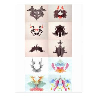 Die Rorschach Test-Tinte befleckt allen 10 Teller Postkarte