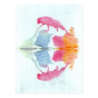 Die Rorschach Test-Tinte befleckt Tier der Postkarte