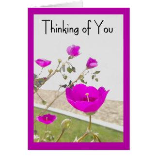 Die rosa Frühlings-Blumen, die an Sie denken, Karte