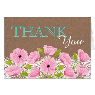 Die rosa rustikale Mohnblumen-Spitze-Leinwand Karte