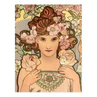 Die Rose durch Mucha Postkarte