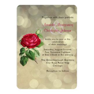 Die Rote Rose auf goldenen Bokeh Lichtern Wedding Karte