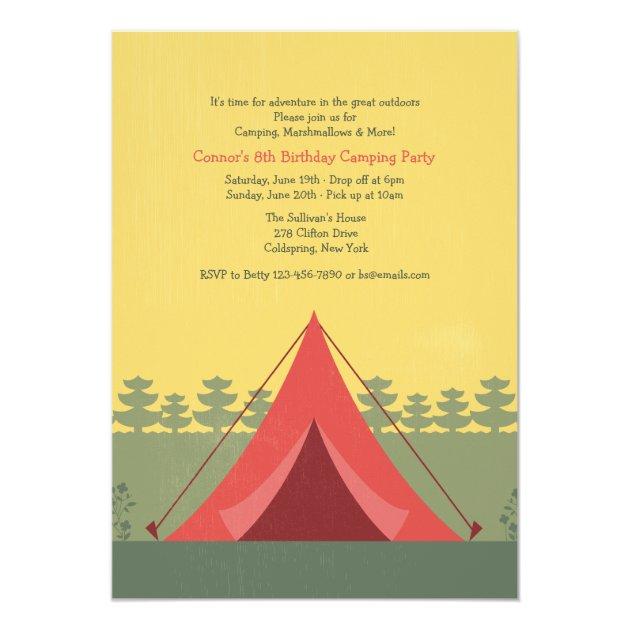Toll Die Rote Zelt Campings Einladung 12,7 X 17,8 Cm Einladungskarte | Zazzle
