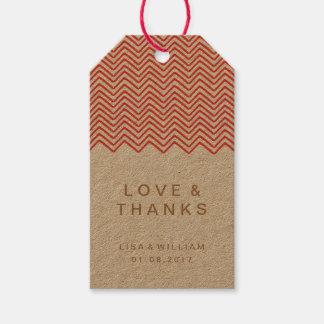 Die rote Zickzack-Hochzeit danken Ihnen, Geschenkanhänger