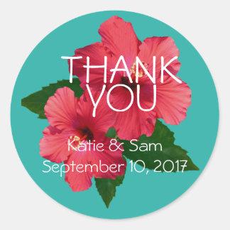 Die roten runden Hibiskus-Blumen danken Ihnen Runder Aufkleber