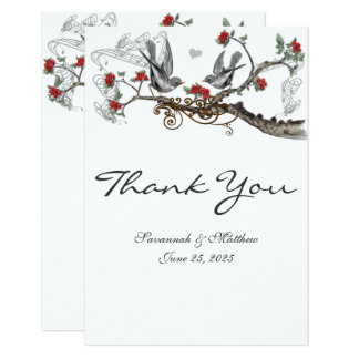Die roten u. grauen Vintagen Wedding Vögel laden Karte