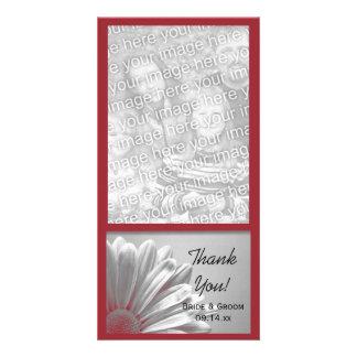 Die roten Wedding Blumenhöhepunkte danken Ihnen Individuelle Photo Karte