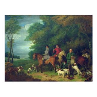 Die Rückkehr vom Schießen, 18. Jahrhundert Postkarte