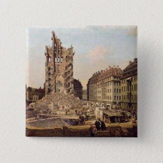 Die Ruinen des alten Kreuzkirche, Dresden Quadratischer Button 5,1 Cm