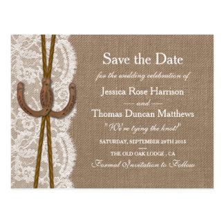 Die rustikale Hufeisensammlung Save the Date Postkarte