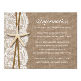 Die rustikale Starfish-Strand-Hochzeits-Sammlung 10,8 X 14 Cm Einladungskarte