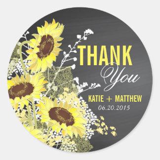 Die rustikale Tafel-Sonnenblume danken Ihnen zu Runder Aufkleber