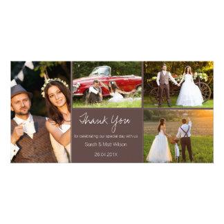 Die rustikale vier Foto-Hochzeit danken Ihnen Karte