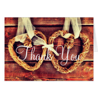 Die rustikalen Wedding Land-Herzen danken Ihnen Karte