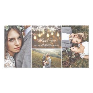 Die rustikalen Wedding Spitze-und Weckglas-Lichter Karte