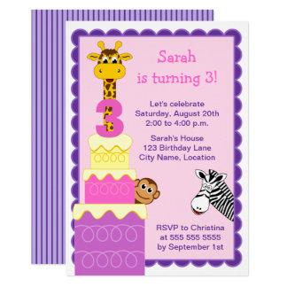 Die Safari-Tier-Geburtstags-Party des Mädchens Karte