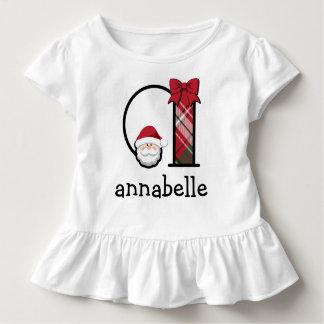 Die Sankt-Weihnachtsrüsche-Shirtmonogramm a des Kleinkind T-shirt