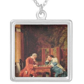 Die Schach-Spieler, 1856 Halskette Mit Quadratischem Anhänger
