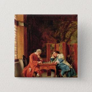 Die Schach-Spieler, 1856 Quadratischer Button 5,1 Cm