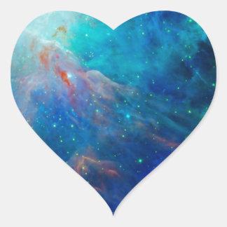 Die schimmernde NASA Blau Orions-Nebelflecks Herz-Aufkleber