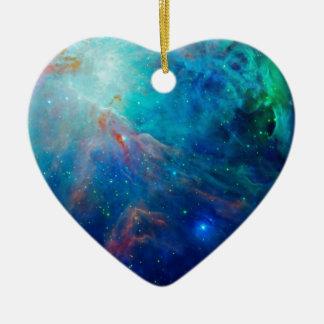 Die schimmernde NASA Blau Orions-Nebelflecks Keramik Herz-Ornament