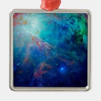 Die schimmernde NASA Blau Orions-Nebelflecks Quadratisches Silberfarbenes Ornament
