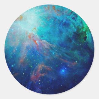 Die schimmernde NASA Blau Orions-Nebelflecks Runder Aufkleber