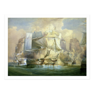 Die Schlacht von Trafalgar, der Anfang des Acti Postkarte