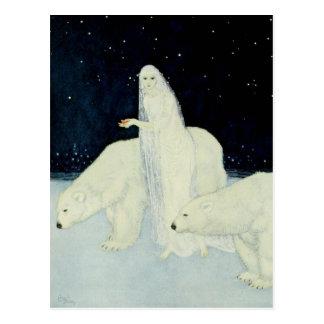 Die Schnee-ErstAnsammlungs-defekten Herzen Postkarte