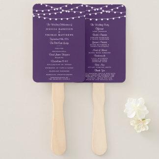 Die Schnur-Lichter auf lila Hochzeits-Sammlung Fächer