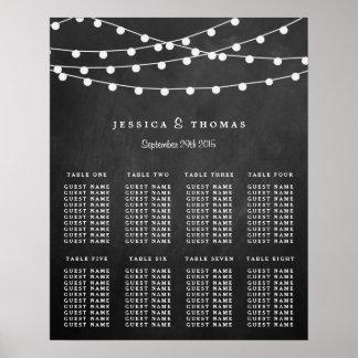 Die Schnur-Lichter auf Tafel-Hochzeits-Sammlung Poster