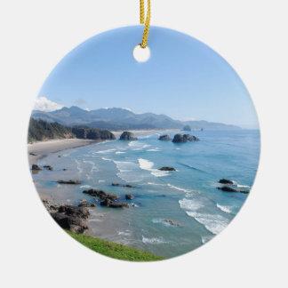 Die schöne Oregon-Küste von Ecola Park Keramik Ornament